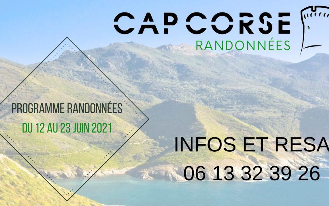 Découvrez le programme des randonnées (Juin) de Cap Corse Randonnées